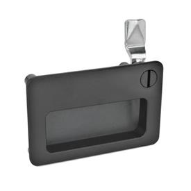 GN 115.10 Latches with gripping tray Type: SCH - Operation with slot<br />Finish: SW - black, RAL 9005, textured finish<br />Identification no.: 2 - Operation, in drawn position, at the top right