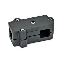 GN 193 Abrazaderas de conexión en ángulo, aluminio d<sub>1</sub> / s<sub>1</sub>: V - Orificio cuadrado<br />d<sub>2</sub> / s<sub>2</sub>: V - Orificio cuadrado<br />Acabado: SW - negro, RAL 9005, acabado texturado