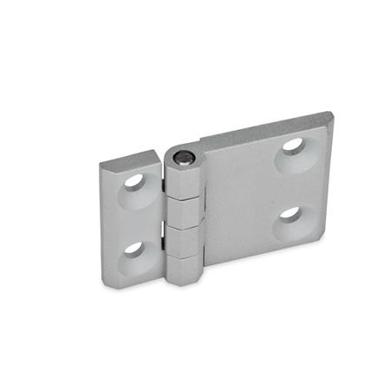 GN 237 Scharniere, mit horizontal verlängerten Scharnierflügeln, Zink-Druckguss Werkstoff: ZD - Zink-Druckguss Form: A - 2x2 Bohrungen für Senkschrauben Oberfläche: SR - silber, RAL 9006, strukturmatt