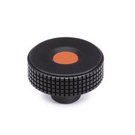 GN 534 Kordelgriffe, Kunststoff, Abdeckkappe farbig Farbe Abdeckkappe: DOR - orange, RAL 2004, matt