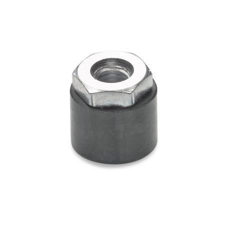 GN 806 Anschlagpuffer, Gummi Form: B - Schutzkappe mit Gewindebuchse