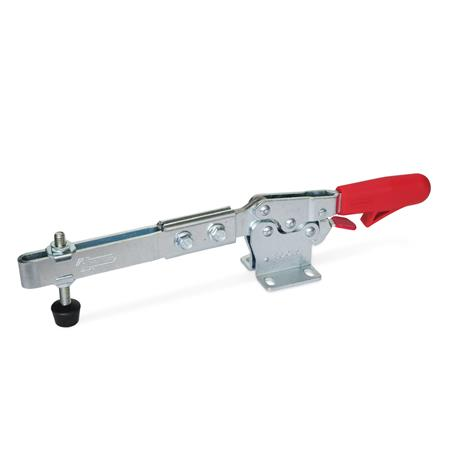GN 820.3 Toggle clamps, operating lever horizontal, with safety hook, with horizontal mounting base, with extended clamping arm Type: ULC - Clamping arm extended, with slotted hole, two flanged washers and clamping screw GN 708.1