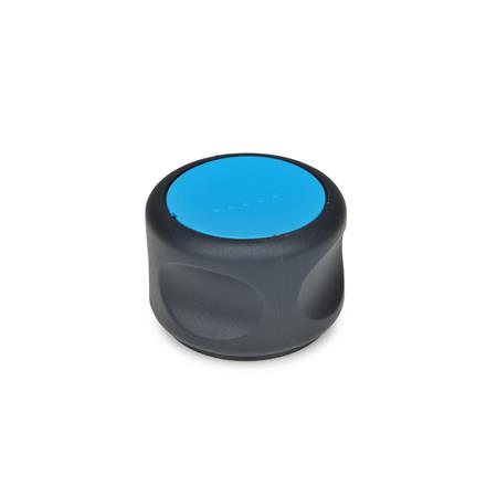 GN 624 Control knobs, plastic, bushing steel Color of the cover cap: DBL - blue, RAL 5024, matte