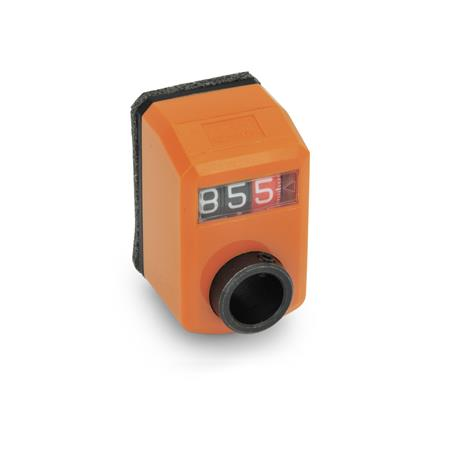 GN 955 Position indicators, digital, 3 digits Installation (Front view): FN - in the front, above Color: OR - orange, RAL 2004