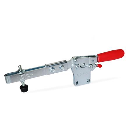 GN 820.4 Toggle clamps, operating lever horizontal, with lock mechanism, with vertical mounting base, with extended clamping arm Type: VLC - Clamping arm extended, with slotted hole, two flanged washers and clamping screw GN 708.1