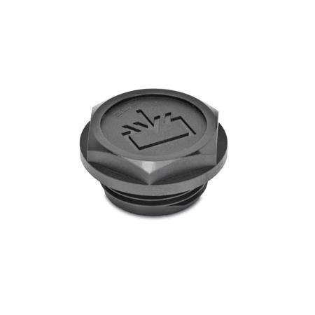 GN 747.2 Threaded plugs with re-fill symbol, O-ring collared, Plastic Air vent drilling: 1 - without vent drilling