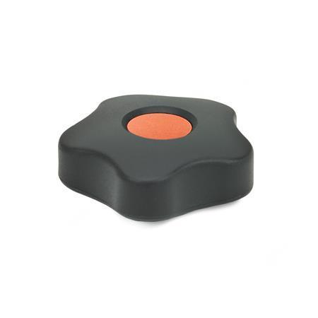 GN 5331 Sterngriffe, Abdeckkappe farbig Form: B - mit Abdeckstopfen Farbe der Abdeckkappe: DOR - orange, RAL 2004, matt