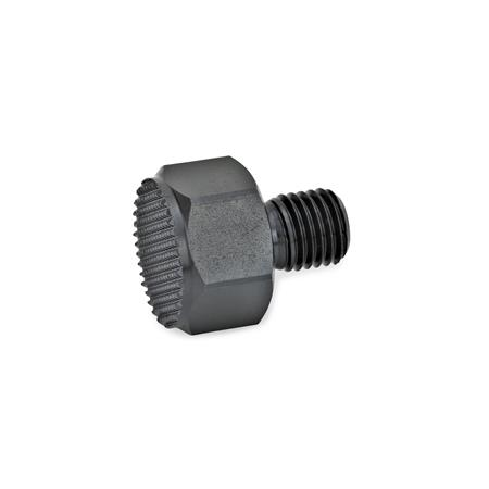 GN 409.1 Positioning elements with male thread Surface pressure form: R - Serrated contact face