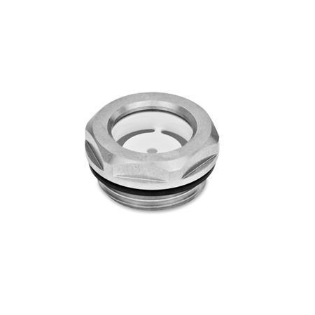 GN 743.4 Edelstahl-Ölschaugläser, Float-Glas Form: A - mit Reflektor