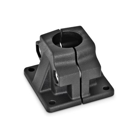 GN 165 Base plate connector clamps, Aluminum d<sub>1</sub> / s: B - Bore Finish: SW - black, RAL 9005, textured finish