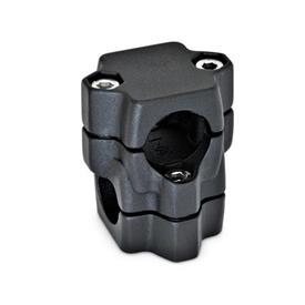 GN 134 Kreuz-Klemmverbinder, mehrteilig, gleiche Bohrungsmaße d<sub>1</sub> / s<sub>1</sub>: B - Bohrung<br />d<sub>2</sub> / s<sub>2</sub>: B - Bohrung<br />Oberfläche: SW - schwarz, RAL 9005, strukturmatt