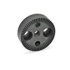 GN 187.4 Serrated locking plates, Sintered Steel Type: A - with tapped hole in the center, with two countersunk holes for cap screws