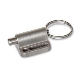 GN 417 Edelstahl-Rastbolzen mit Zugring / mit Zugöse, ohne Rastsperre Form: A - mit Zugring<br />Werkstoff: NI - Edelstahl-Feinguss
