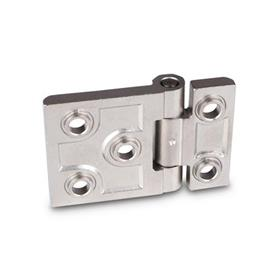 GN 237.3 Stainless Steel-Heavy duty hinges, horizontally elongated Material: NI - Stainless Steel<br />Type: B - with bores for countersunk screws and centering attachments<br />Finish: GS - matte shot-blasted<br />Hinge wings: l3 ≠ l4 - elongated on one side