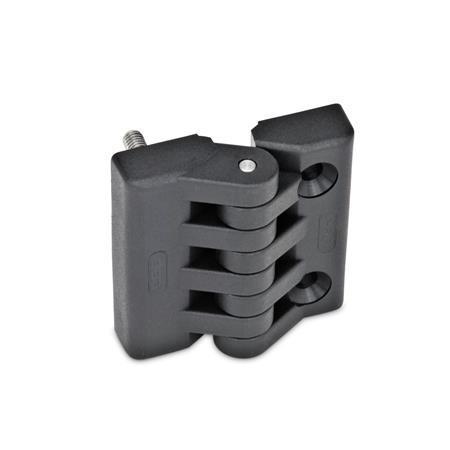 GN 151 Scharniere, Kunststoff Form: F - 2x Gewindestifte / 2x Bohrungen für Senkschrauben