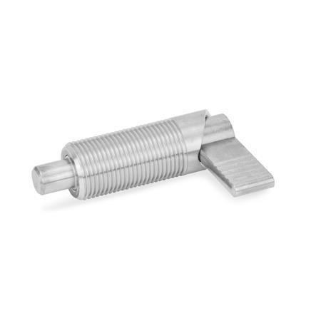 GN 612 Edelstahl-Rastriegel Form: A - ohne Kunststoffkappe, ohne Kontermutter Werkstoff: NI - Edelstahl