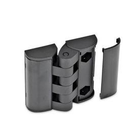 GN 151.3 Scharniere mit Abdeckung, Kunststoff Form: EH - 2x2 Bohrungen für Zylinderschrauben / Sechskantschrauben