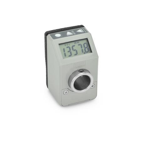 GN 9054 Indicateurs de position, électroniques, avec écran LCD (indication numérique), 5chiffres Couleur: GR - gris, RAL 7035