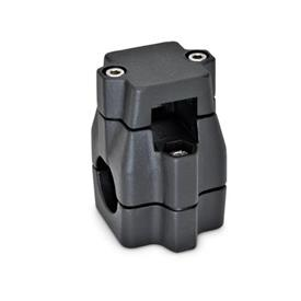 GN 135 Kreuz-Klemmverbinder, mehrteilig, ungleiche Bohrungsmaße d<sub>1</sub> / s<sub>1</sub>: V - Vierkant<br />d<sub>2</sub> / s<sub>2</sub>: B - Bohrung<br />Oberfläche: SW - schwarz, RAL 9005, strukturmatt