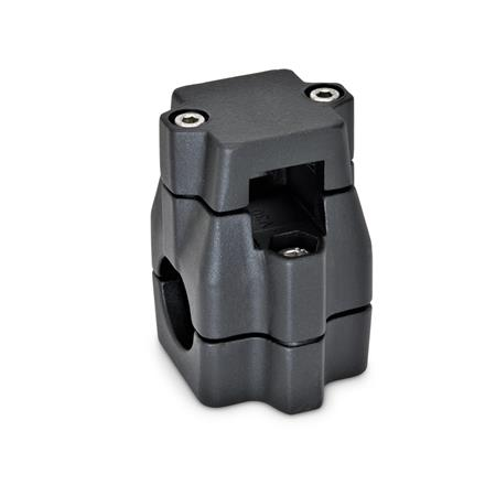 GN 135 Two-way connector clamps, multi part assembly, unequal bore dimensions d<sub>1</sub> / s<sub>1</sub>: V - Square d<sub>2</sub> / s<sub>2</sub>: B - Bore Finish: SW - black, RAL 9005, textured finish