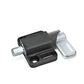 GN 722.3 Spring latches with flange for surface mounting, parallel to the plunger pin Finish: SW - black, textured finish<br />Type: L - left indexing cam