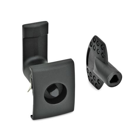GN 115.5 Latches  for snap-in mounting Type: DK - Operation with triangular spindle (DK6,5) Finish: SW - black, RAL 9005, textured finish Identification no.: 2 - Lock housing with stop, rectangular with handle