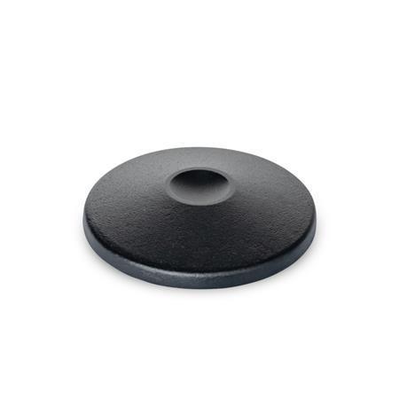 GN 36.1 Fußplatten, ohne zentrale Befestigungsbohrung Form: A - ohne Gummiauflage