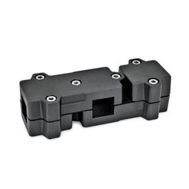 GN 195 T-Angle connector clamps, Aluminium Square s: V 40<br />Identification No.: 2 - with 6 Stainless Steel-clamping screws DIN 912<br />Finish: SW - black, RAL 9005, textured finish