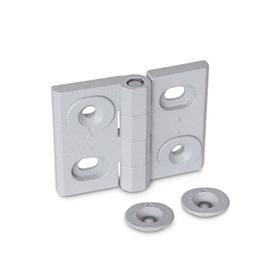 GN 127 Hinges, adjustable, Zinc die casting Type: B - vertically adjustable<br />Finish: SR - silver, RAL 9006, textured finish