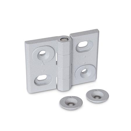 GN 127 Hinges, adjustable, Zinc die casting Type: B - vertically adjustable Finish: SR - silver, RAL 9006, textured finish