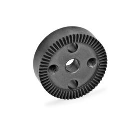 GN 187.4 Serrated locking plates, Sintered Steel Type: D - with drilling in the center, with two tapped mounting holes