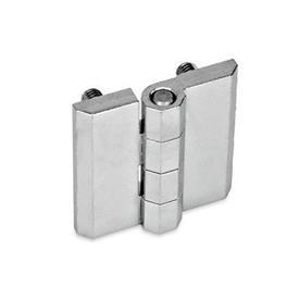 GN 237 Scharniere, Zink-Druckguss / Aluminium Werkstoff: ZD - Zink-Druckguss<br />Form: C - 2x2 Gewindestifte<br />Oberfläche: CR - verchromt