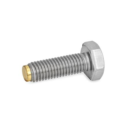 GN 933.5 Hexagon head screws, Stainless Steel Type: MS - Brass pivot