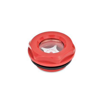 GN 543.2 Oil level sight glasses, Plastic Type: A - with contrast screen Colour: RT - red, RAL 3000