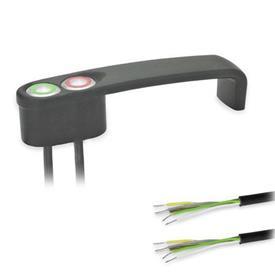 GN 422 Bügelgriffe, mit elektrischer Schaltfunktion, mit Kabel Form: T2 - mit 2 Taster<br />Oberfläche: SW - schwarz, RAL 9005, strukturmatt