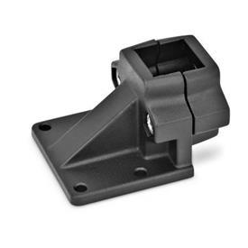 GN 166 Abrazaderas de conexión con placa base descentrada, aluminio d<sub>1</sub> / s: V - Orificio cuadrado<br />Acabado: SW - negro, RAL 9005, acabado texturado