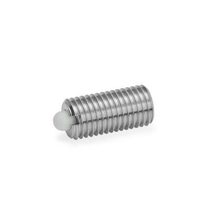 GN 616 Federnde Edelstahl-Druckstücke, mit Bolzen Form: KN - Bolzen Kunststoff, normaler Federdruck