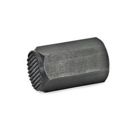 GN 409.2 Positionierelemente mit Innengewinde Druckflächenform: R - Druckfläche geriffelt
