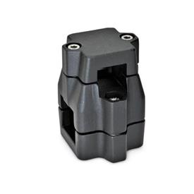 GN 135 Two-way connector clamps, multi part assembly, unequal bore dimensions Square s<sub>1</sub>: V 30<br />Finish: SW - black, RAL 9005, textured finish