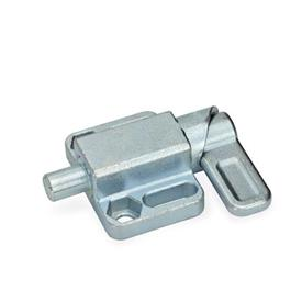 GN 722.3 Spring latches with flange for surface mounting, parallel to the plunger pin Type: L - left indexing cam<br />Finish: ZB - zinc plated, blue passivated