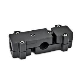 GN 195 Abrazaderas de conexión en ángulo, aluminio d<sub>1</sub> / s: B - Orificio redondo<br />Acabado: SW - negro, RAL 9005, acabado texturado