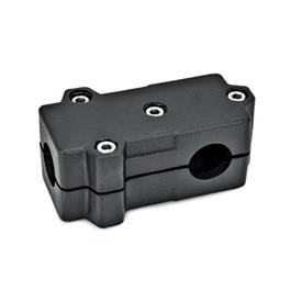 GN 193 T-Angle connector clamps, Aluminium Bore d<sub>1</sub>: B 40<br />Finish: SW - black, RAL 9005, textured finish<br />Identification No.: 2 - with 4 Stainless Steel-clamping screws DIN 912
