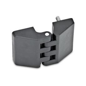 GN 155 Scharniere, Kunststoff Form: D - 2x Gewindesacklöcher / 2x Gewindestift