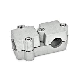 GN 194 T-Angle connector clamps, Aluminium Bore d<sub>1</sub>: B 40<br />Finish: BL - blank<br />Identification No.: 2 - with 4 Stainless Steel-clamping screws DIN 912