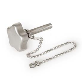 GN 5334.13 Stainless Steel-Star knobs with loss protection with threaded stud Type: K - with ball chain
