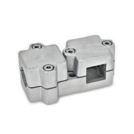GN 194 Abrazaderas de conexión en ángulo, aluminio d<sub>1</sub> / s<sub>1</sub>: B - Orificio redondo<br />d<sub>2</sub> / s<sub>2</sub>: V - Orificio cuadrado<br />Acabado: BL - natural, granallado mate