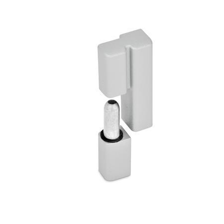 GN 161.2 Scharniere, Zink-Druckguss, aushängbar Farbe: SR - silber, RAL 9006, strukturmatt Form: L - festes Lager (Stift) links