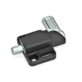 GN 722.3 Spring latches with flange for surface mounting, parallel to the plunger pin Type: R - right indexing cam<br />Finish: SW - black, RAL 9005, textured finish