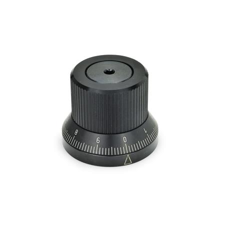 GN 700 Adjustable knobs Type: S - with standard scale 0...9, 100 graduations, acc. d1/100 A RA 0-10-20...90 / 10