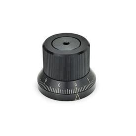 GN 700 Verstellknöpfe mit stufenloser Arretierung Form: KS - mit kundenspezifischer Sonderskala